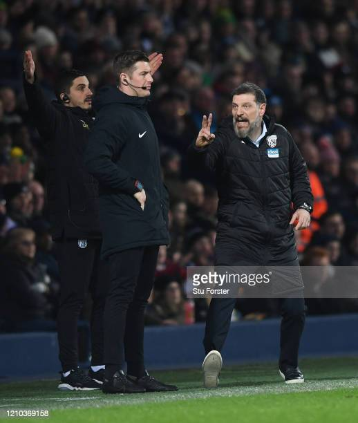 WBA manager Slaven Bilic steps forward to have words with 4th official Robert Jones during the FA Cup Fifth Round match between West Bromwich Albion...