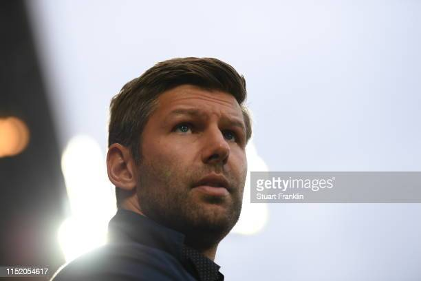 Manager sports Thomas Hitzlsperger of VfB Stuttgart looks on prior to the Bundesliga playoff second leg match between 1. FC Union Berlin and VfB...
