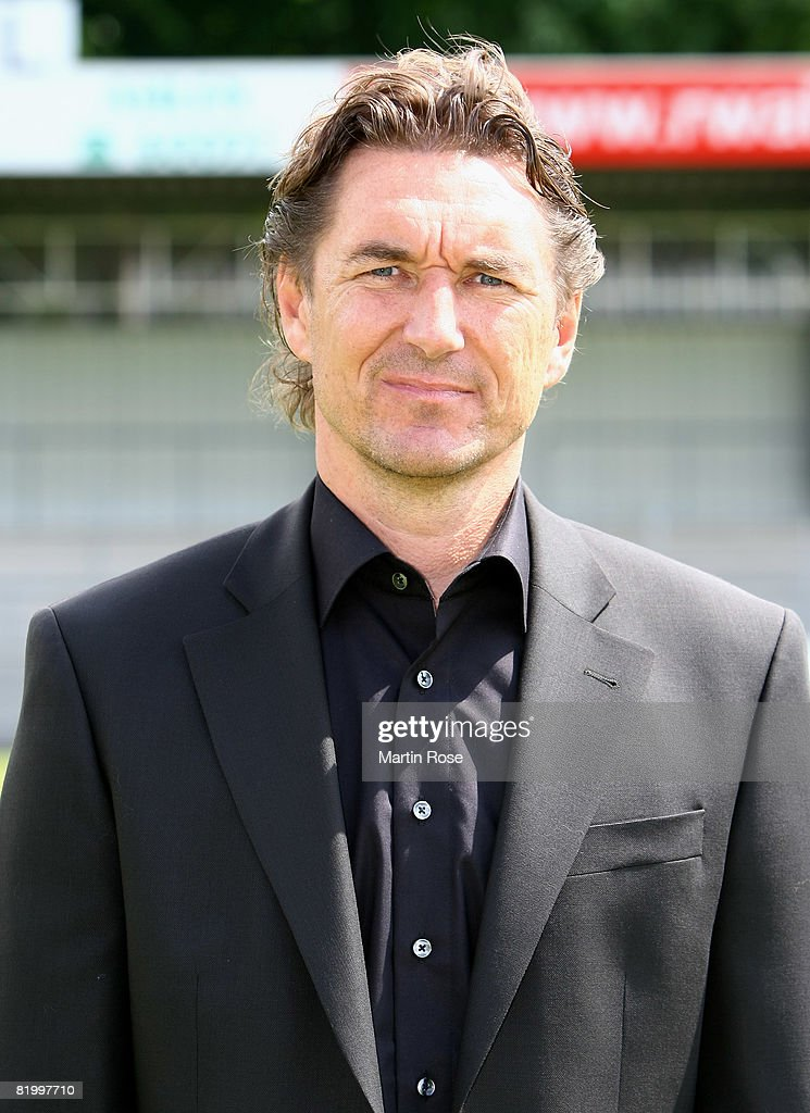 Manager Stefan Greadler poses during the Bundesliga 2nd Team Presentation of RW Ahlen at the Werse stadium on July 19, 2008 in Ahlen, Germany.