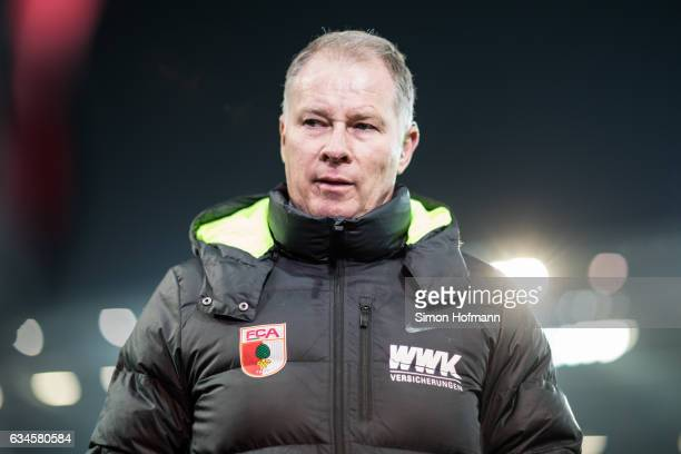 Manager Stefan Reuter of Augsburg looks on prior to the Bundesliga match between 1 FSV Mainz 05 and FC Augsburg at Opel Arena on February 10 2017 in...