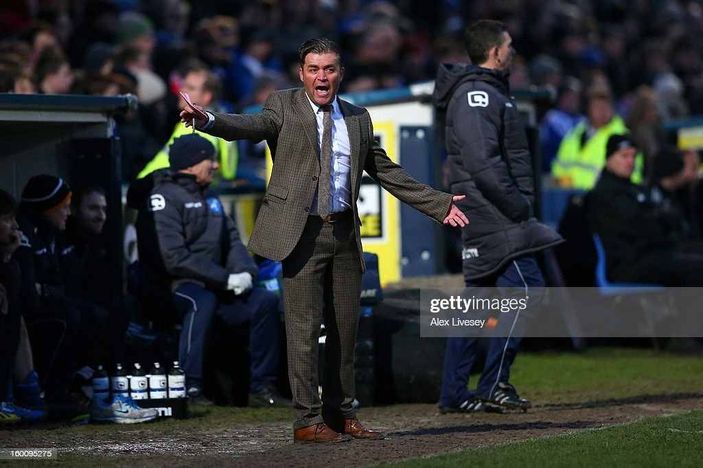 Manager Steve King of Macclesfield Town gives instructions from the touchline during the Budweiser FA Cup fourth round match between Macclesfield Town and Wigan Athletic at Moss Rose Ground on January 26, 2013 in Macclesfield, England.
