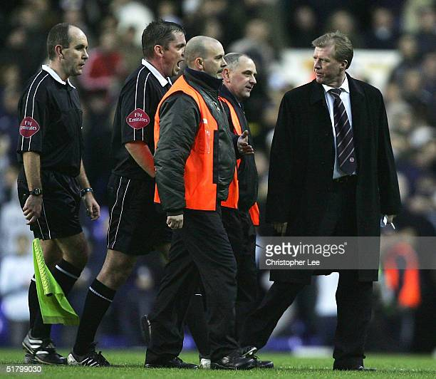 Manager Steve McClaren of Middlesbrough argues with the referee Phil Dowd after sending off Franck Queudrue during the Barclays Premiership match...