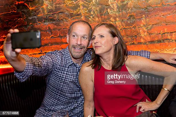 """Manager Steven Levy and Actress Molly Shannon take a selfie at the 2016 Outfest Los Angeles Closing Night Gala Of """"Other People"""" After Party at The..."""