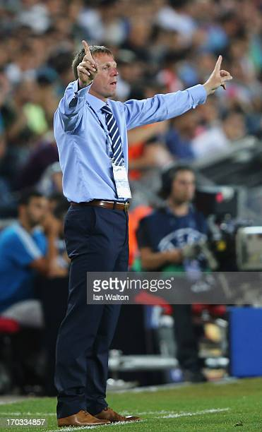 Manager Stuart Pearce of England during UEFA European U21 Championships Group A match between Israel and England at Teddy Stadium on June 11 2013 in...