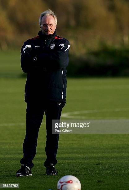 Manager Sven Goran Erikkson looks on during an England Training session ahead of the match Between England and Argentina at Manchester United...