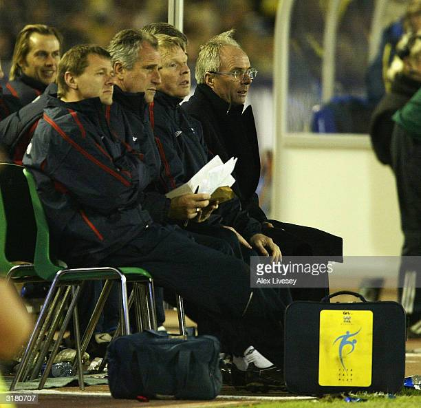 Manager Sven Goran Eriksson of England watches from the dugout during an International Friendly match between Sweden and England at Ullevi Stadium on...