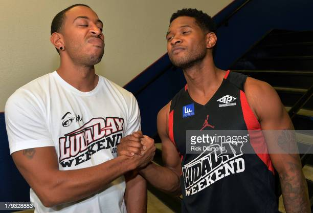 Manager Team Ludacris and Manager Team Usher get there game face on during Neuro Drinks At LudaDay Weekend Celebrity Basketball Game at GSU Sports...