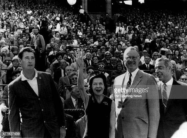 Manager Ted Williams of the Washington Senators Mrs George Herman Ruth widow of former New York Yankee first baseman Babe Ruth Baseball Commissioner...