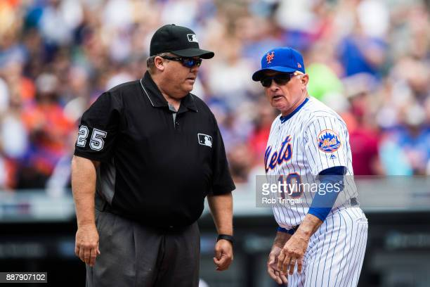 Manager Terry Collins of the New York Mets argues with umpire Fieldin Culbreth during the game against the Milwaukee Brewers at Citi Field on...