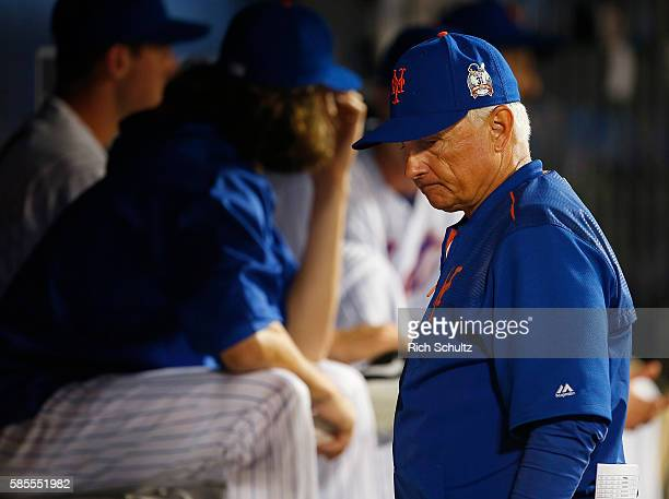 Manager Terry Collins of the New York Mets in action against the Colorado Rockies during a game at Citi Field on July 30 2016 in the Flushing...