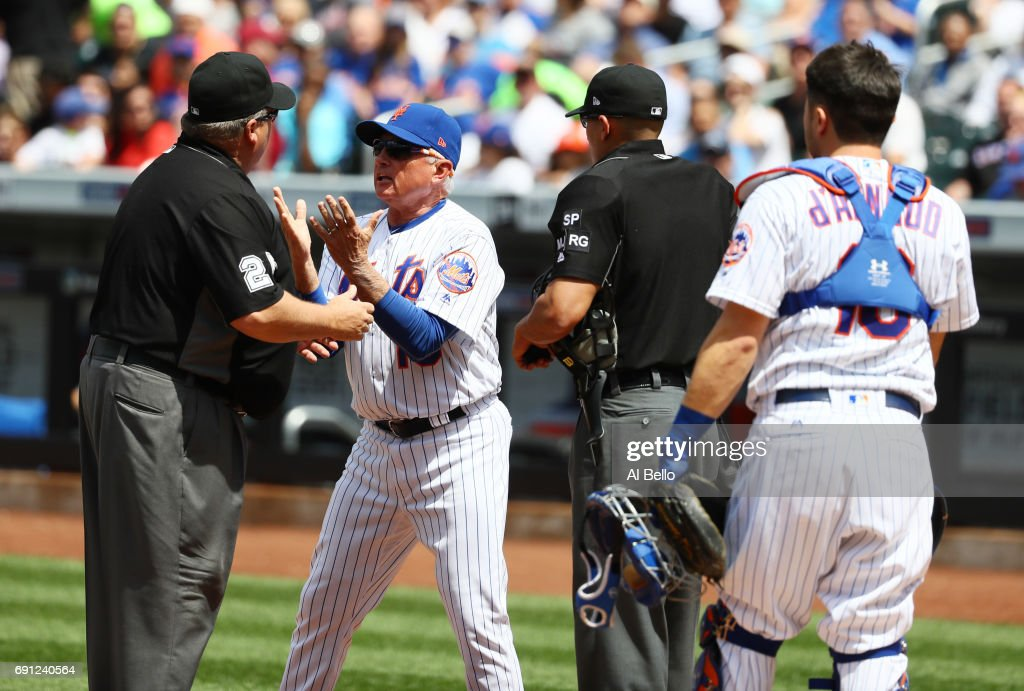Manager Terry Collins #10 of the New York Mets is thrown out of the game by third base umpire Fieldin Culbreth in the fourth inning during their game at Citi Field on June 1, 2017 in New York City. Collins argued a call that Wilmer Flores #4 was interfered by the batboy while chasing a foul ball.