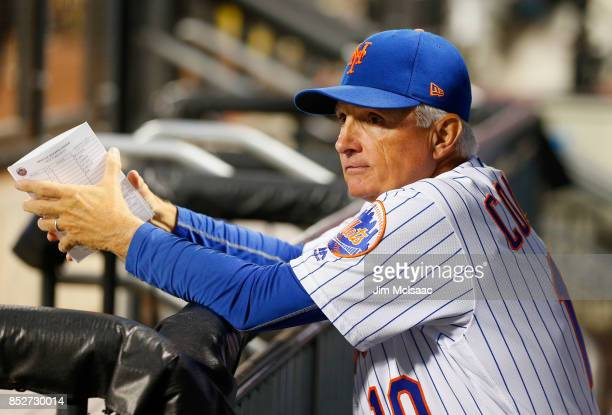 Manager Terry Collins of the New York Mets looks on against the Washington Nationals at Citi Field on September 23 2017 in the Flushing neighborhood...
