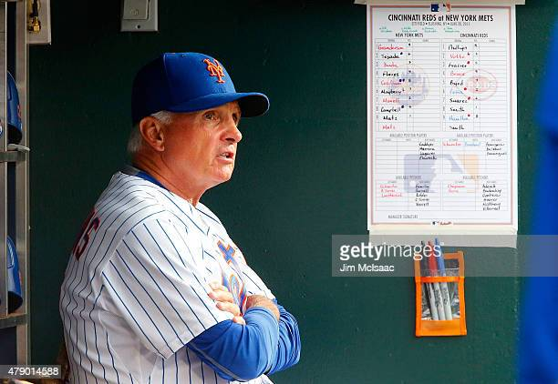 Manager Terry Collins of the New York Mets looks on against the Cincinnati Reds at Citi Field on June 28 2015 in the Flushing neighborhood of the...