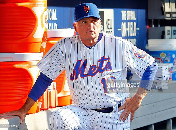 Manager Terry Collins of the New York Mets looks on before a game against the Miami Marlins at Citi Field on July 5 2016 in the Flushing neighborhood...