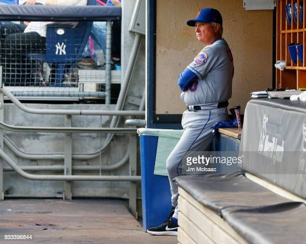 Manager Terry Collins of the New York Mets looks on before a game against the New York Yankees at Yankee Stadium on August 15 2017 in the Bronx...