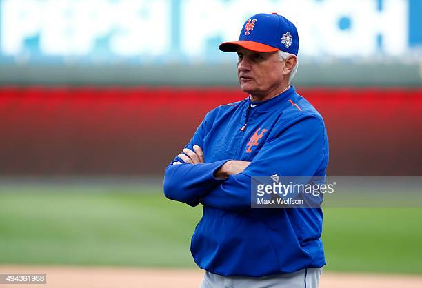 Manager Terry Collins of the New York Mets looks on during the Mets workout the day before Game 1 of the 2015 World Series between the Kansas City...