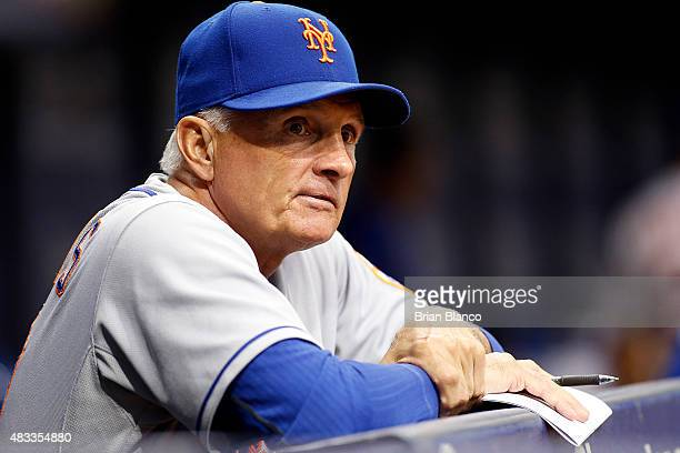 Manager Terry Collins of the New York Mets looks on from the dugout during the first inning of a game against the Tampa Bay Rays on August 7 2015 at...