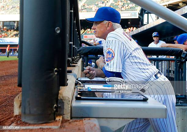 Manager Terry Collins of the New York Mets looks on prior to the start of a game against the St Louis Cardinals at Citi Field on July 27 2016 in the...