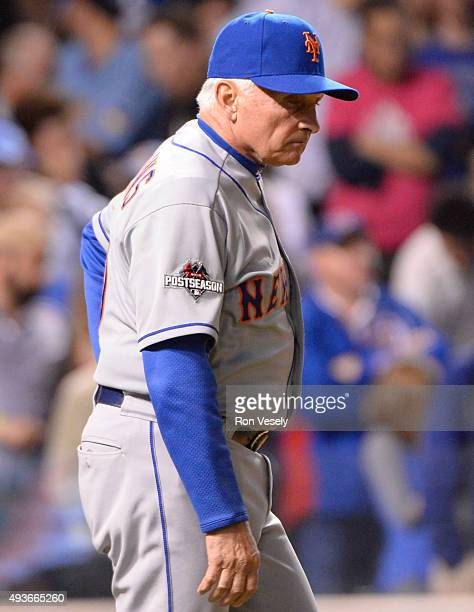 Manager Terry Collins of the New York Mets makes a pitching change in the bottom of the fifth inning of Game 4 of the NLCS against the Chicago Cubs...