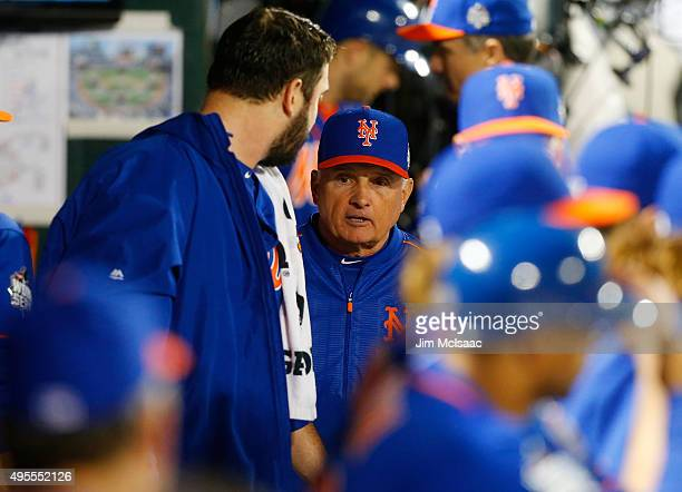 Manager Terry Collins of the New York Mets talks with Matt Harvey after the eighth inning of game five of the 2015 World Series against the Kansas...