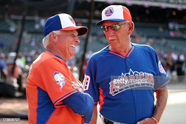 Manager Terry Collins talks with American League AllStar Manager Jim Leyland during Gatorade AllStar Workout Day on July 15 2013 at Citi Field in the...