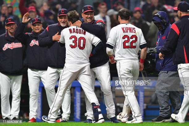 Manager Terry Francona celebrates with Tyler Naquin of the Cleveland Indians after Naquin hit a walkoff single during the ninth inning against the...