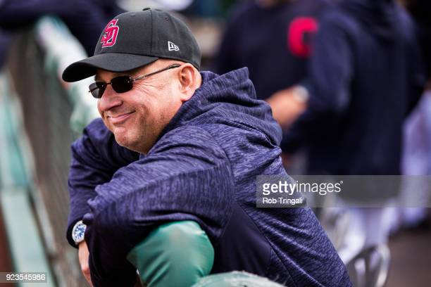 Manager Terry Francona looks on before a game against the Cincinnati Reds during a Spring Training Game at Goodyear Ballpark on February 23 2018 in...