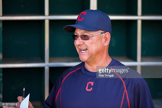 Manager Terry Francona looks on before a spring training game against the Cincinnati Reds at Goodyear Ballpark on March 1 2016 in Goodyear Arizona