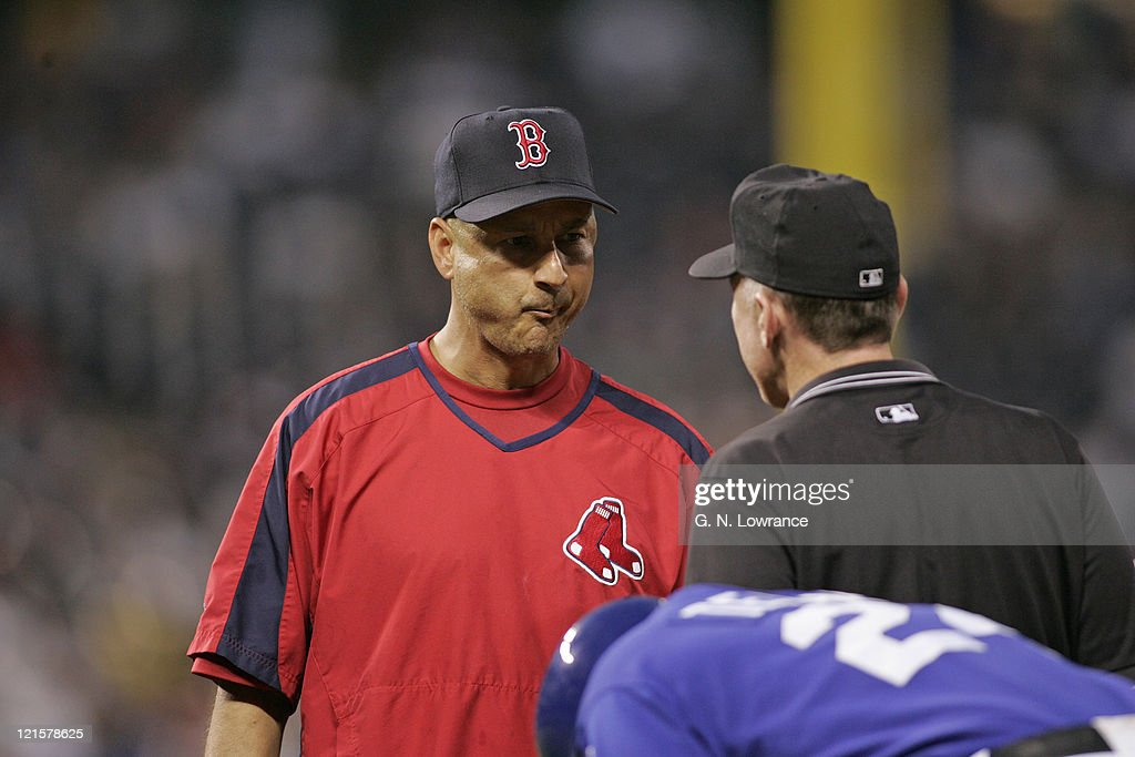 Manager Terry Francona of the Boston Red Sox argues a call against the Kansas City Royals at Kauffman Stadium in Kansas City, Mo. on August 25, 2005. The Royals won 7-4.