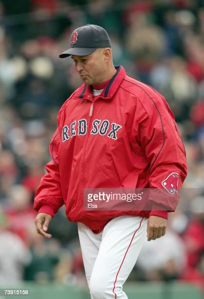 Manager Terry Francona of the Boston Red Sox walks from the mound against the Seattle Mariners during opening day at Fenway Park on April 10, 2007 in...