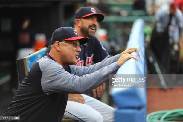 Manager Terry Francona of the Cleveland Indians is seen in the dugout before the game against the Kansas City Royals at Progressive field on Thursday...