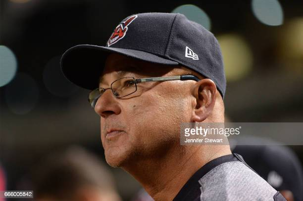 Manager Terry Francona of the Cleveland Indians looks on from the dugout during the MLB game against the Arizona Diamondbacks at Chase Field on April...