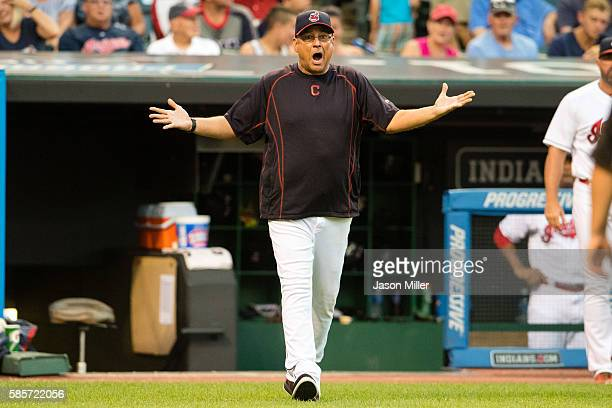 Manager Terry Francona of the Cleveland Indians reacts after umpires ruled that left fielder Lonnie Chisenhall did not make a diving of catch on a...