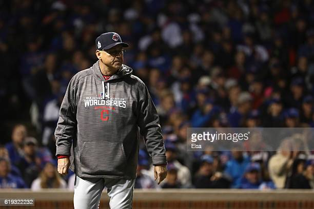 Manager Terry Francona of the Cleveland Indians reacts in the third inning against the Chicago Cubs in Game Five of the 2016 World Series at Wrigley...