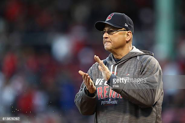 Manager Terry Francona of the Cleveland Indians reacts prior to game three of the American League Divison Series against the Boston Red Sox at Fenway...