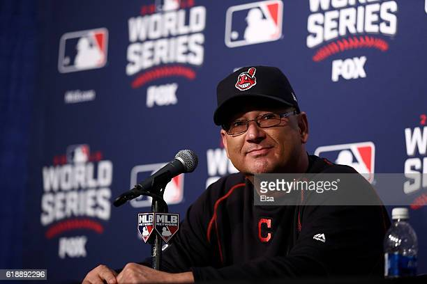 Manager Terry Francona of the Cleveland Indians speaks to the media before Game Three of the 2016 World Series against the Chicago Cubs at Wrigley...
