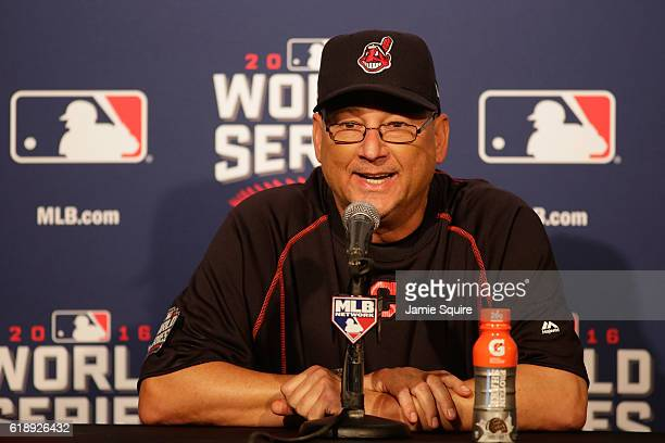 Manager Terry Francona of the Cleveland Indians speaks to the media after the 10 victory against the Chicago Cubs in Game Three of the 2016 World...