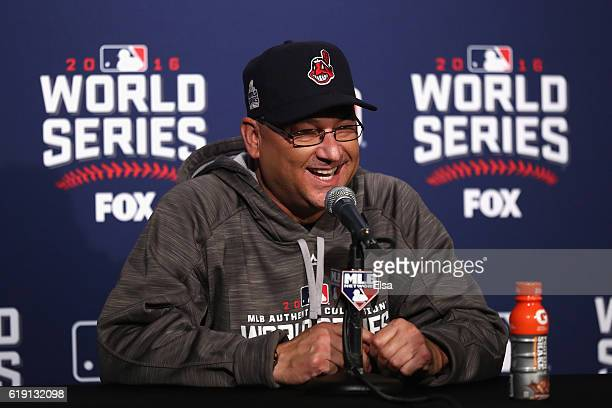 Manager Terry Francona of the Cleveland Indians speaks to the media after beating the Chicago Cubs 72 in Game Four of the 2016 World Series at...