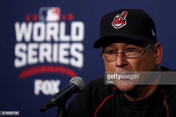 Manager Terry Francona of the Cleveland Indians speaks to the media after after the Chicago Cubs beat the Cleveland Indians 32 in Game Five of the...
