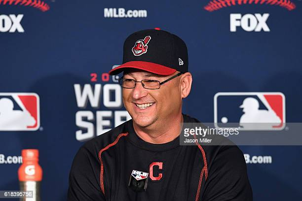 Manager Terry Francona of the Cleveland Indians speaks with the media during a press conference prior to Game Two of the 2016 World Series against...