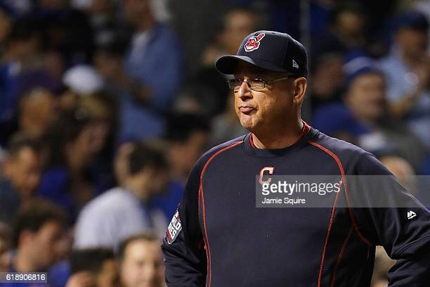 Manager Terry Francona of the Cleveland Indians stands on the field during player introductions before Game Three of the 2016 World Series against...