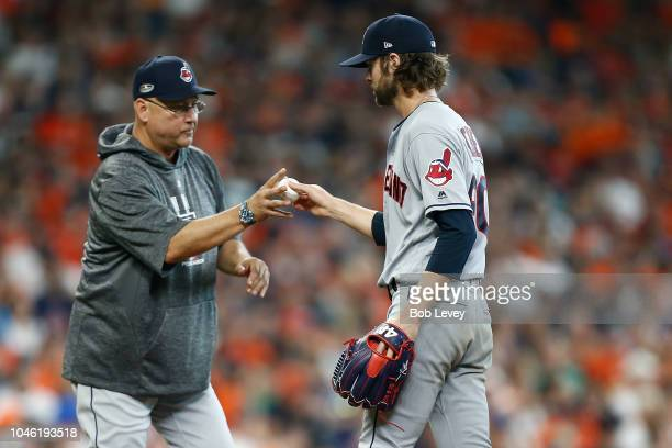 Manager Terry Francona of the Cleveland Indians takes out Adam Cimber against the Houston Astros during Game One of the American League Division...