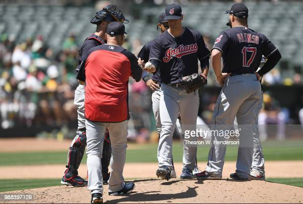 Manager Terry Francona of the Cleveland Indians takes the ball from pitcher Adam Plutko taking Plutko out of the game against the Oakland Athletics...