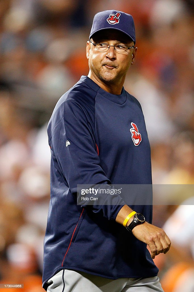 Manager Terry Francona #17 of the Cleveland Indians walks to the mound against the Baltimore Orioles at Oriole Park at Camden Yards on June 24, 2013 in Baltimore, Maryland.