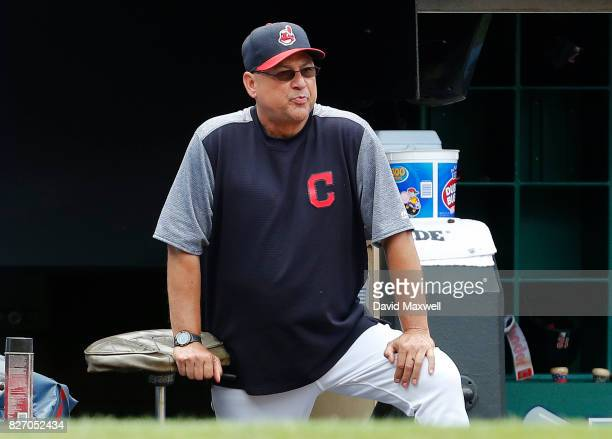 Manager Terry Francona of the Cleveland Indians watches from the dugout in the fifth inning against the New York Yankees at Progressive Field on...