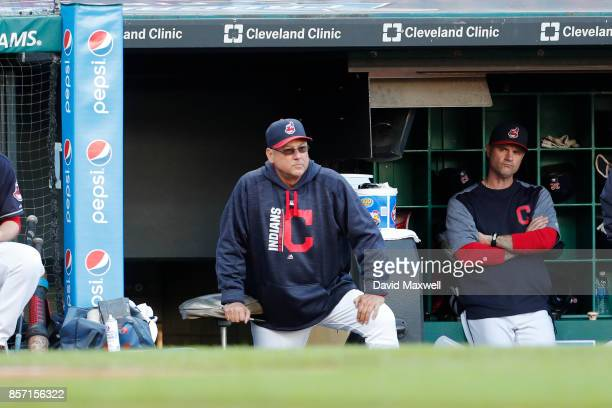 Manager Terry Francona of the Cleveland Indians watches from the dugout in the ninth inning against the Chicago White Sox at Progressive Field on...