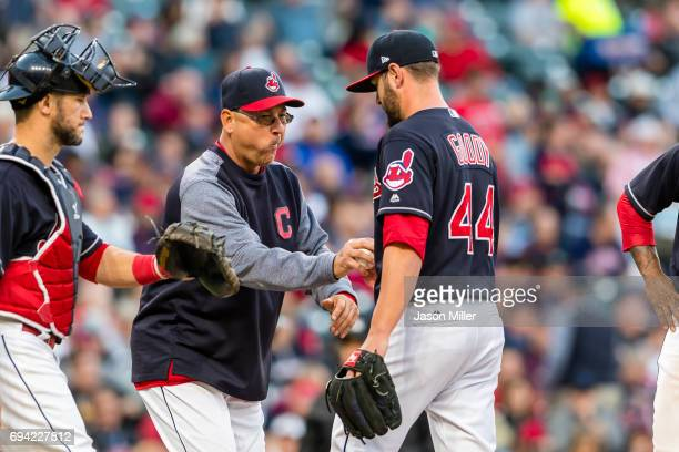 Manager Terry Francona removes Nick Goody of the Cleveland Indians during the fifth inning against the Tampa Bay Rays at Progressive Field on May 15...