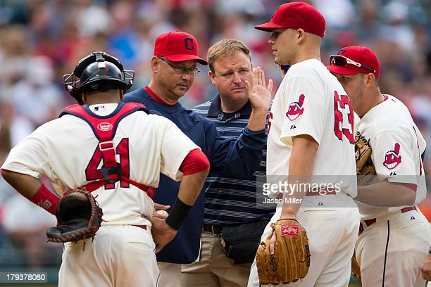 Manager Terry Francona removes starting pitcher Justin Masterson of the Cleveland Indians during the second inning against the Baltimore Orioles at...