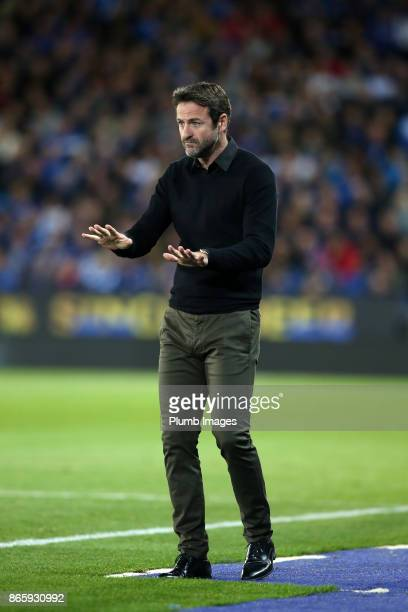 Manager Thomas Christiansen of Leeds United at King Power Stadium during the Carabao Cup match between Leicester City and Leeds United at King Power...