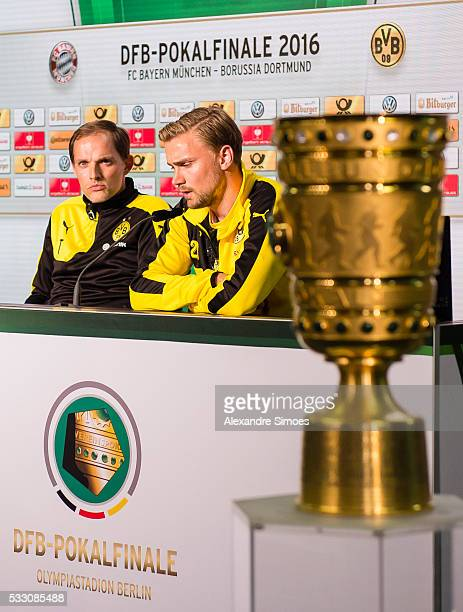 Manager Thomas Tuchel and Marcel Schmelzer of Borussia Dortmund during press conference prior to the DFB Cup Final 2016 match against FC Bayern...